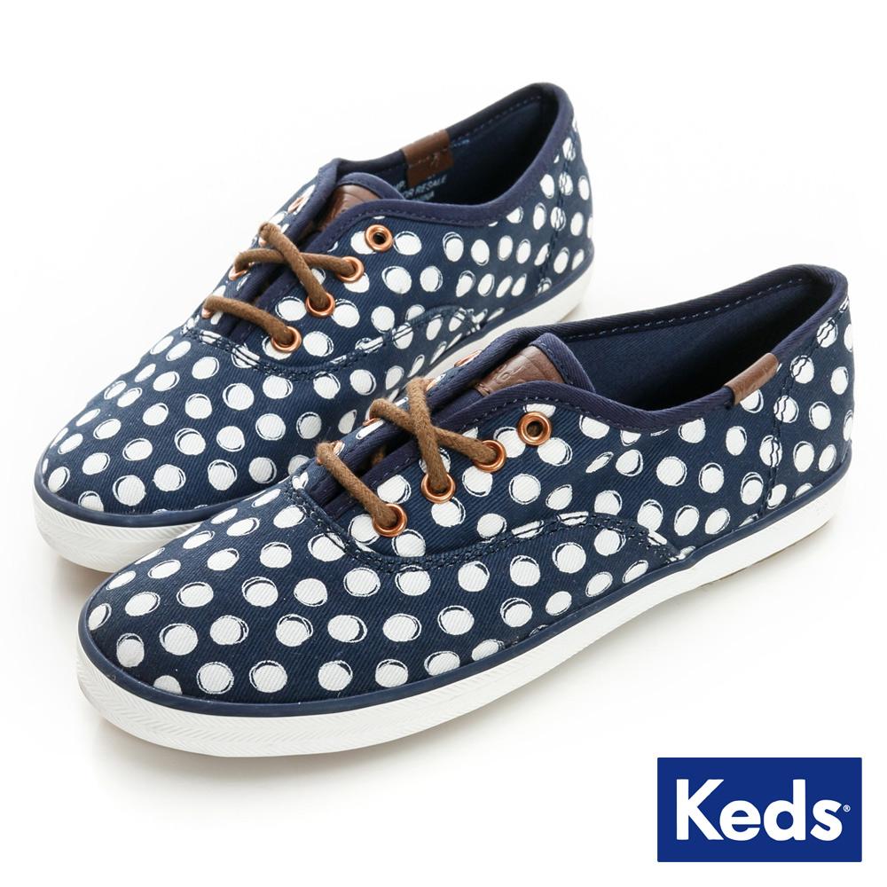Keds 百變印花綁帶休閒鞋(For Kids)-藍/圓點