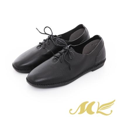 MK-網路限定-超柔軟真皮手縫馬克綁帶平底休閒鞋-黑色
