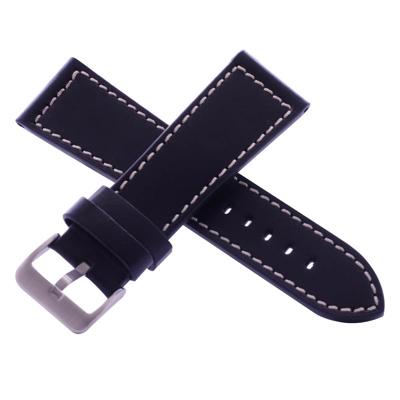 沛納海代用皮帶名廠同級黑武士黑色車白線牛皮錶帶-26*22mm