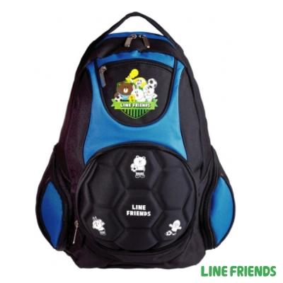 LINE FRIENDS 足球硬殼造型護脊書包(藍)