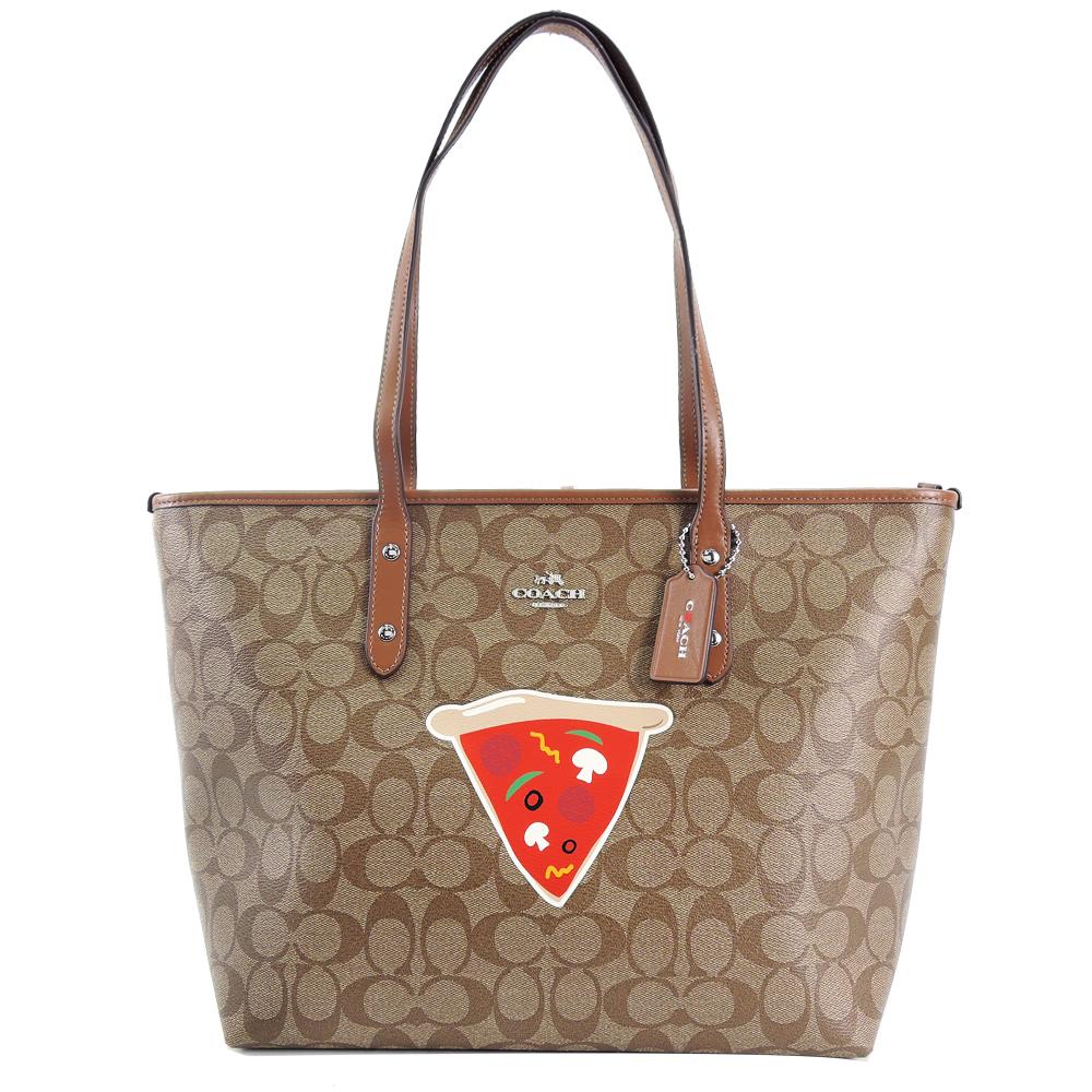 COACH 紐約限定款 C Logo Pizza托特包(卡其棕)COACH