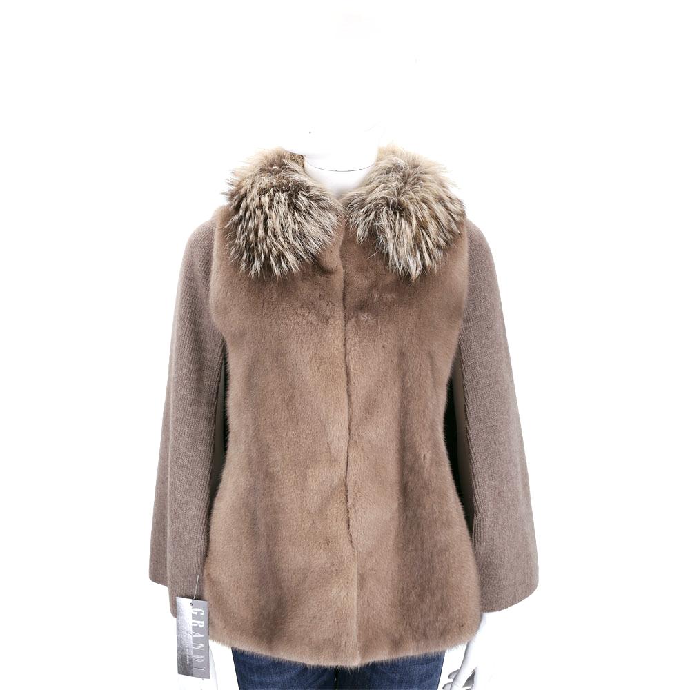 GRANDI furs 咖啡色拼接斗篷皮草外套(70%WOOL)