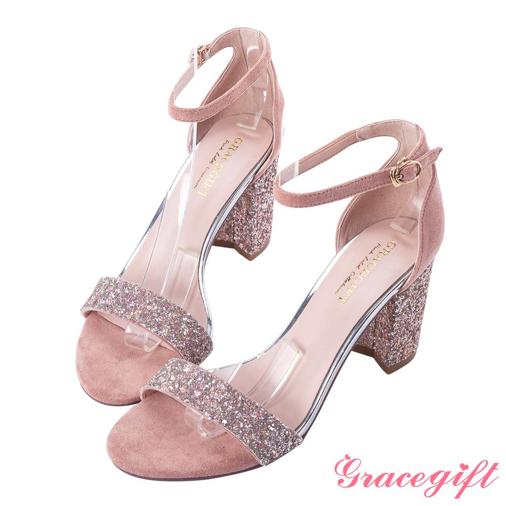 Grace gift-碎石一字繫踝帶高跟涼鞋 粉