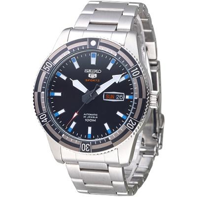 SEIKO 運動潛將百米5號24石自動機械男錶(SRP733K1)-黑*灰框/43mm