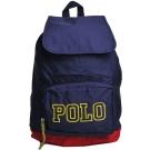 POLO Ralph Lauren 品牌LOGO圖騰尼龍可折後背包(深藍/黃馬)