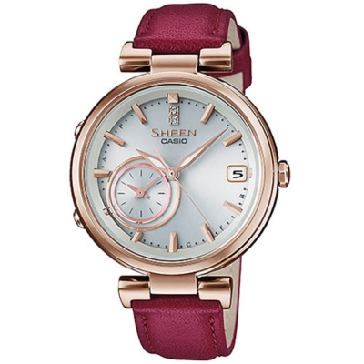 SHEEN 雅典娜之美藍芽傳輸太陽能日曆皮帶腕錶(SHB-100CGL-7A)紅色/35mm