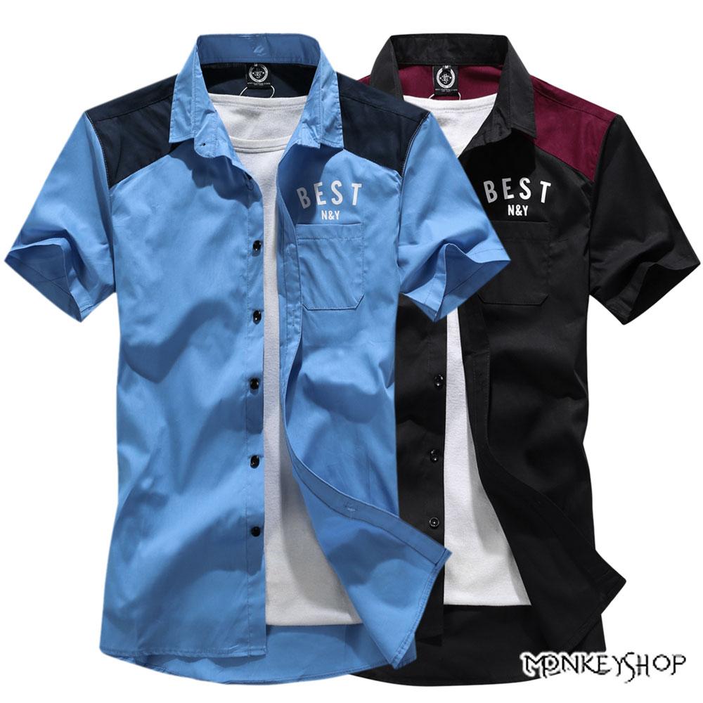 小猴子的賣場 韓系工作風背面BESTFS字母印花短袖襯衫-2色