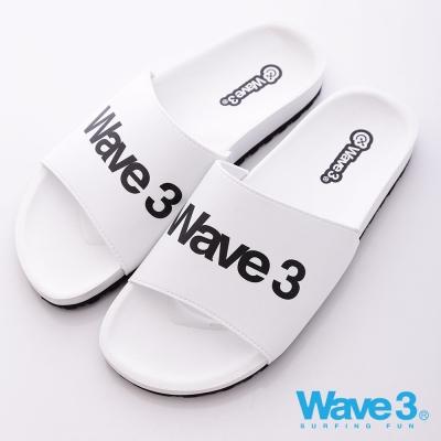 WAVE3【男】台灣製 男印刷LOGO運動休閒拖-白