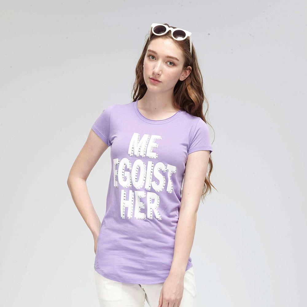 【TOP GIRL】 字母印花圓領T-紫色