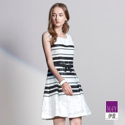 ILEY伊蕾 素雅銀蔥條紋繫帶洋裝(白)