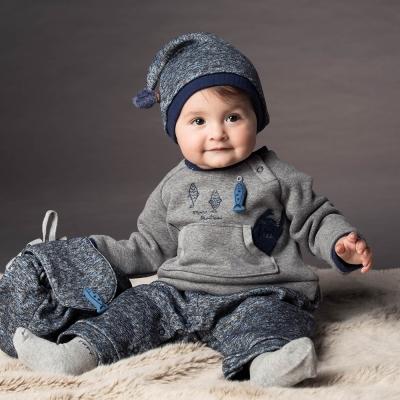 PIPPY 悠游小魚刷毛連身套裝禮盒 藍