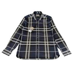 BURBERRY經典格紋系列長袖襯衫(男/藍底格紋)