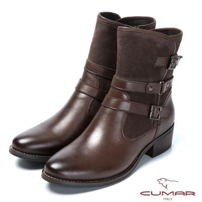CUMAR帥氣軍靴 皮帶釦環裝飾真皮靴-咖啡色