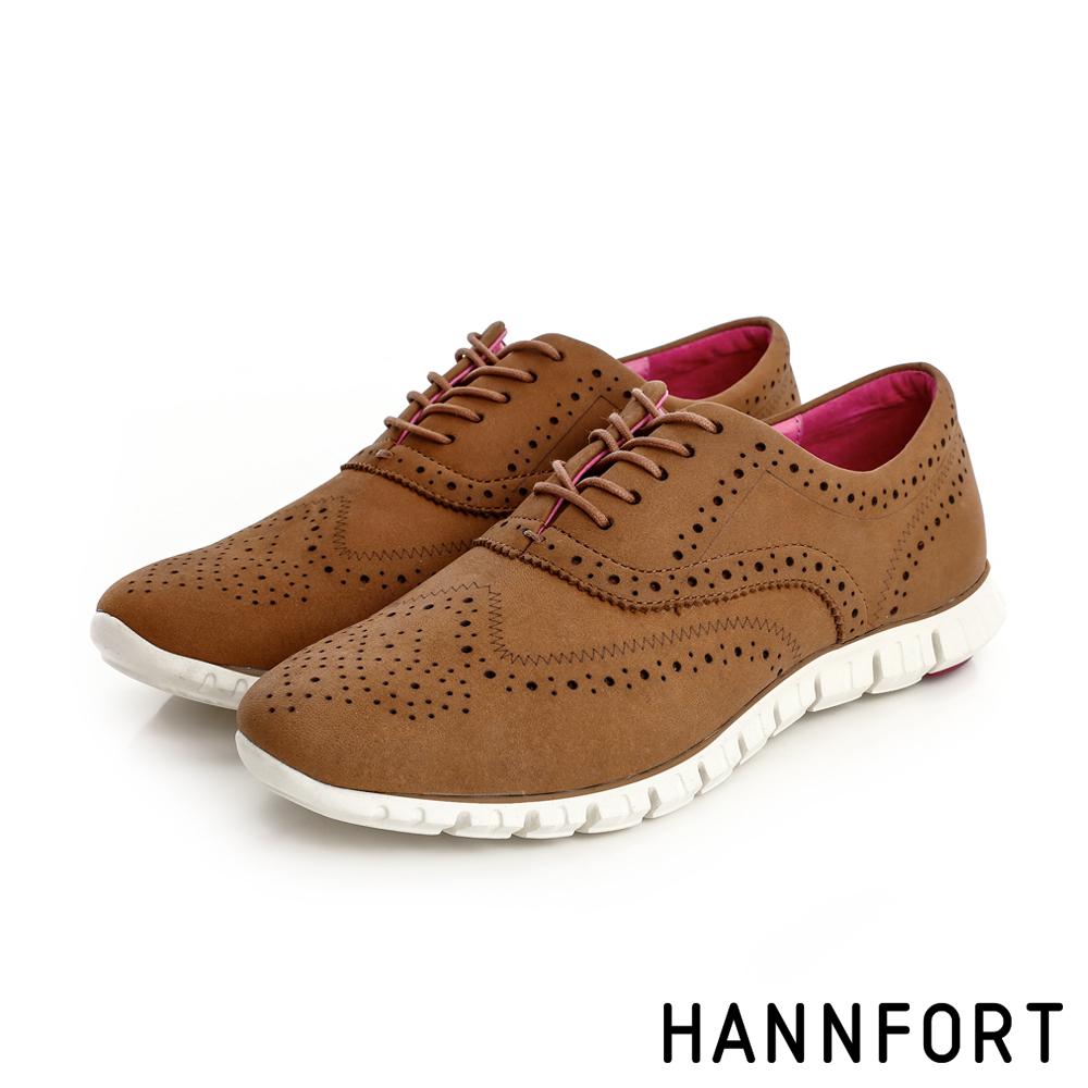 HANNFORT ZERO GRAVITY輕舞牛津翼紋雕花氣墊鞋-女-大地棕8H