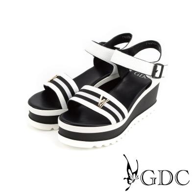 GDC-黑白相間魔鬼沾楔型厚底一字涼拖鞋-白色