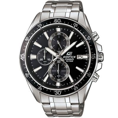 EDIFICE 競速賽車三眼計時腕錶(EFR-546D-1A)-黑/47mm