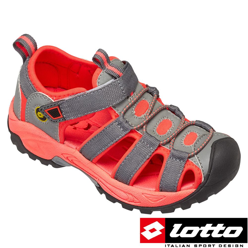 LOTTO 義大利- 中童護趾排水運動涼鞋 (灰/珊瑚桔)