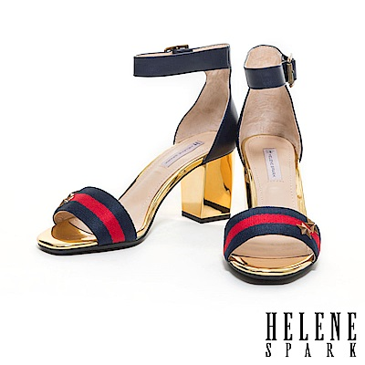 涼鞋 HELENE SPARK 異材質拼接金屬飾釦設計繫踝高跟涼鞋-藍