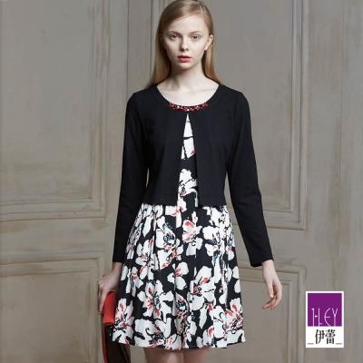 ILEY伊蕾-滿版印花假兩件洋裝-黑