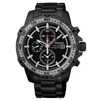 SEIKO 隨心掌握太陽能計時腕錶(SSC301P1)-鐵灰/45mm