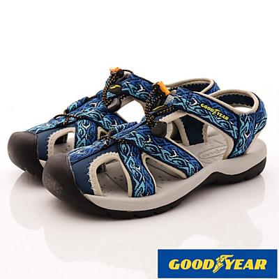 GOODYEAR-護趾運動涼鞋-SE3606藍(男段)