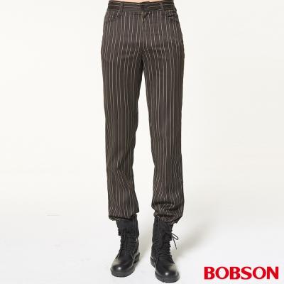 BOBSON 男款伸縮條狀煙管褲