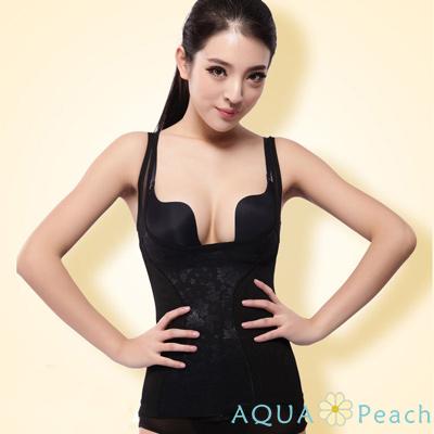 蕾絲刺繡收腹塑身衣背心 (共二色)-AQUA Peach