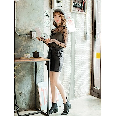 排釦設計修身皮革窄裙-OB嚴選