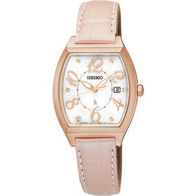 SEIKO LUKIA 遇見時刻太陽能女錶(SUT290J1)-白x粉色錶帶/26mm