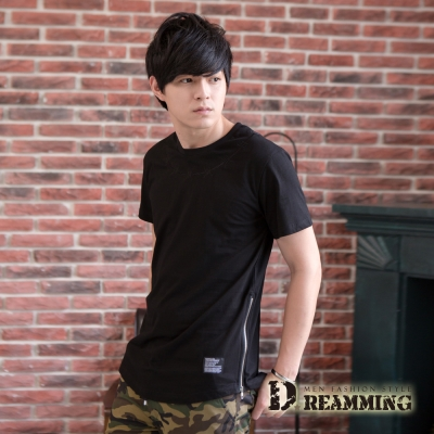Dreamming 日系鐵絲刺繡雙側拉鍊長版短T-共二色