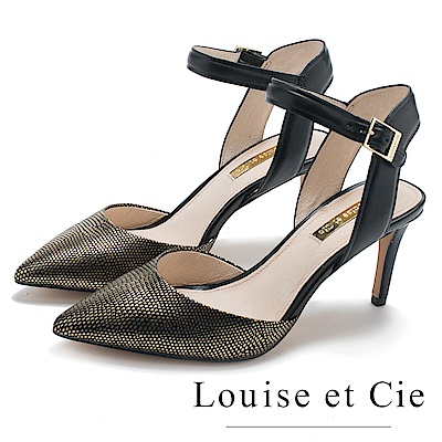 Louise et Cie 奢華金繞踝尖頭高跟鞋-黑色