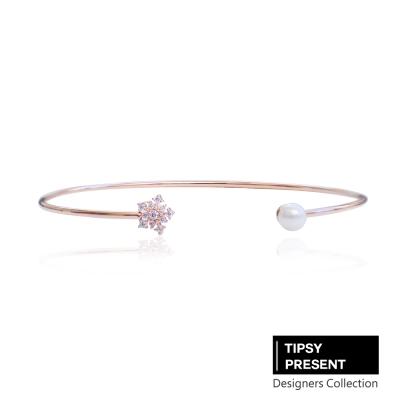 微醺禮物-韓製-鋯石-鍍16K金-雪花與珍珠-開口