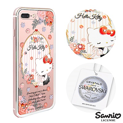 三麗鷗 Kitty iPhone8/7 Plus 施華彩鑽鋁合金屬框手機殼-玫瑰...