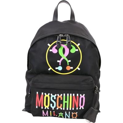 MOSCHINO Milano 多彩字母尼龍後背包(黑色)