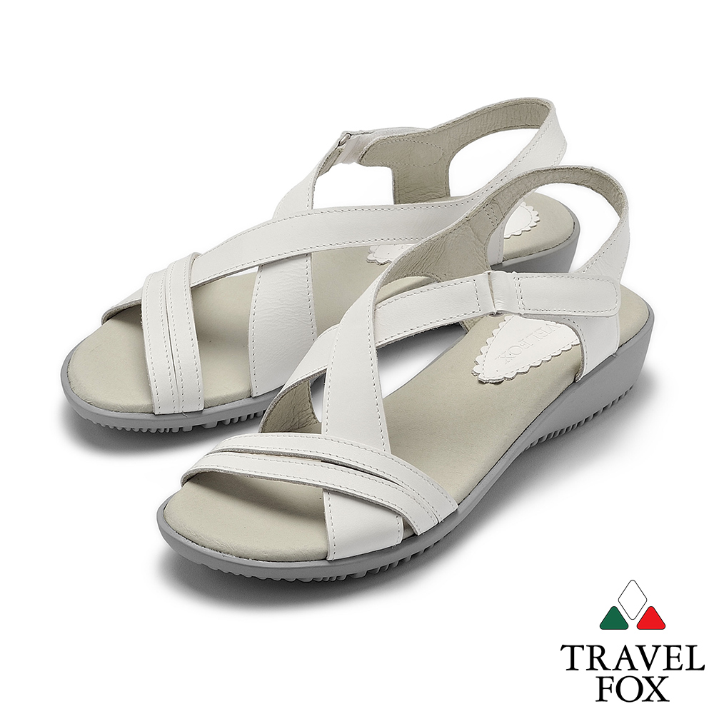 TRAVEL FOX(女) 希臘的風 牛皮舒適交叉綁帶微跟休閒涼鞋 - 鄰家白