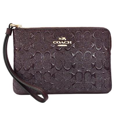 COACH深酒紅C Logo珠光漆皮萬用手拿包