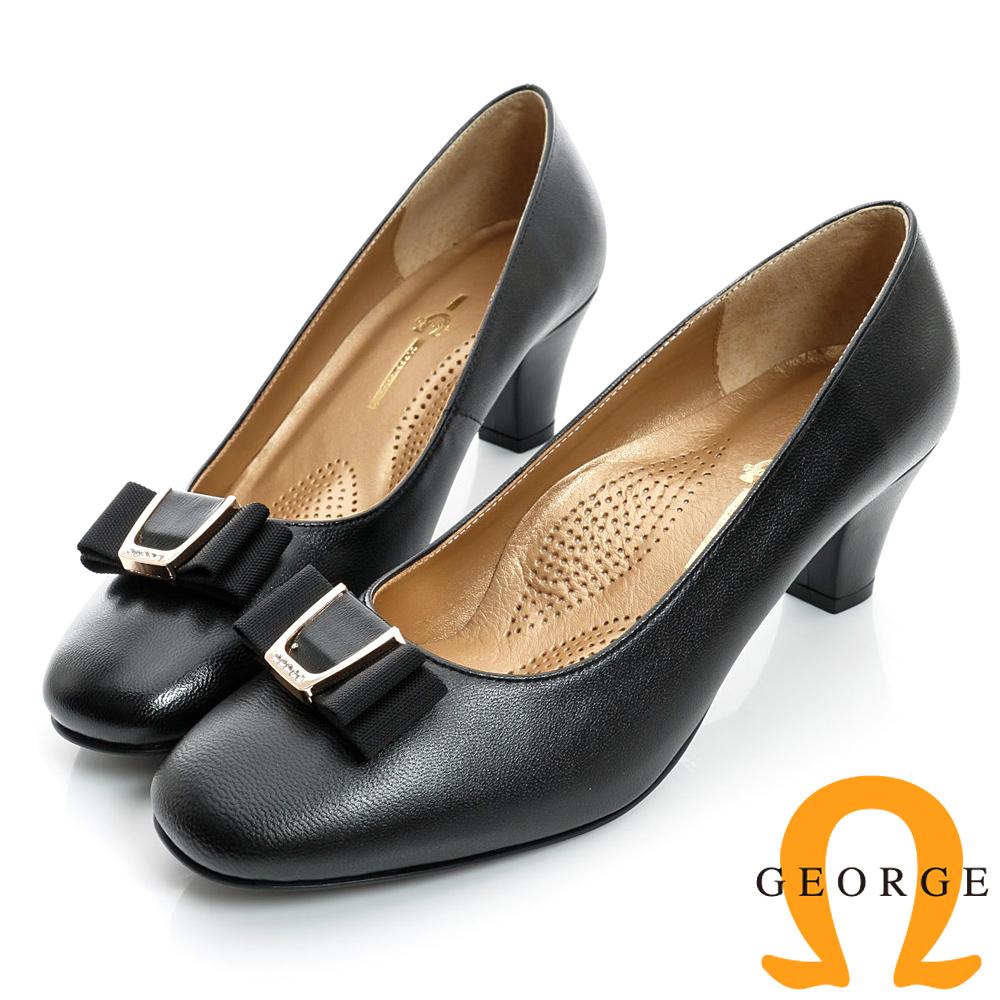GEORGE-金屬水鑽蝴蝶飾扣方頭真皮中跟鞋-黑色