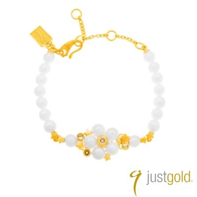 鎮金店Just Gold 黃金手鍊-閃閃星辰華麗版(珠鏈)