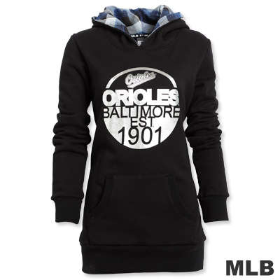 MLB-巴爾的摩金鶯隊長版連帽T恤-黑(女)