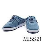 拖鞋 MISS 21 街頭隨性拼接綁帶休閒拖鞋-藍