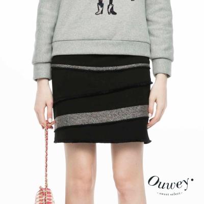 OUWEY歐薇-流蘇毛呢拼接層次短裙