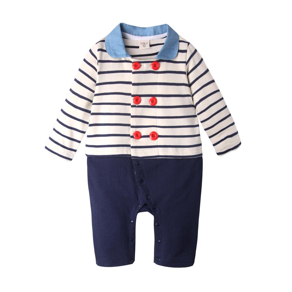 baby童衣 嬰兒連身衣 條紋海軍風翻領爬服50415