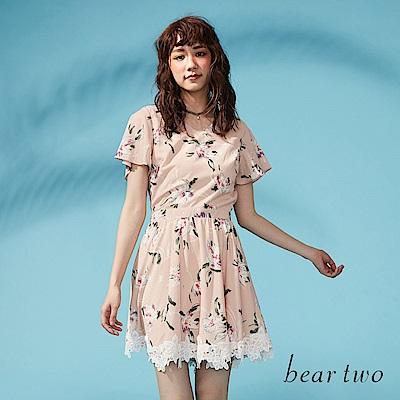 beartwo 雪紡花卉圖案拼接蕾絲洋裝(粉色)