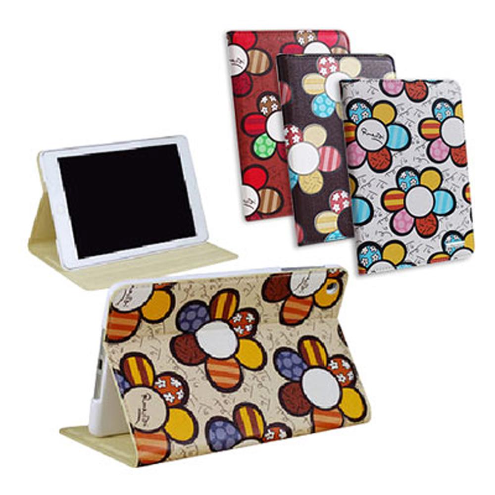 For  Apple iPad mini 浪漫可愛花休眠皮套
