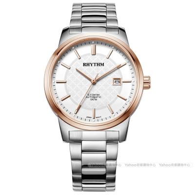 RHYTHM日本麗聲 都會格紋英倫風自動機械腕錶VA1501S03-玫瑰金/40mm