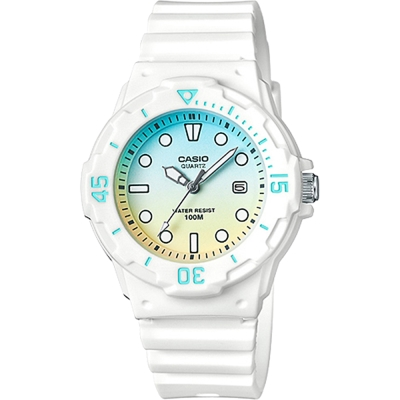 CASIO卡西歐 清涼海洋風女錶-漸層青x白/32mm