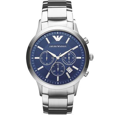 EMPORIO ARMANI 時尚計時腕錶(AR 2448 )-藍/ 43 mm