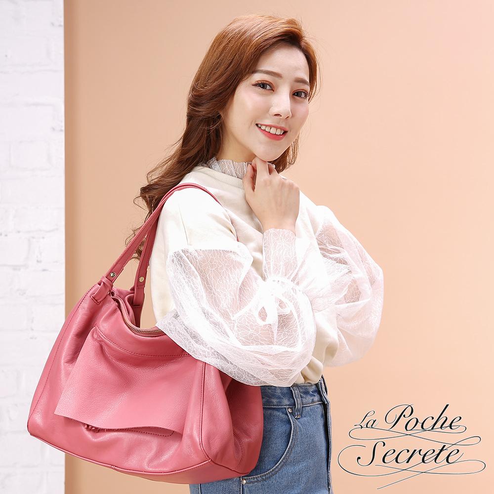 La Poche Secrete 時尚首爾真皮韓系流蘇墜飾包-甜美桃