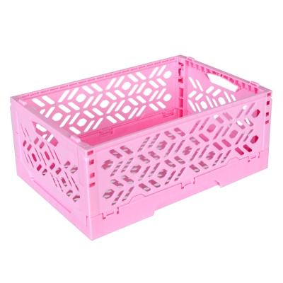 居家達人 創意摺疊式萬用收納盒/置物籃(亮粉)_2入