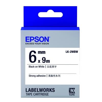 EPSON C53S652405 LK-2WBW高黏性白底黑字標籤帶(寬度6mm)